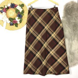 Vintage 2000's plaid preppy A-Line midi skirt